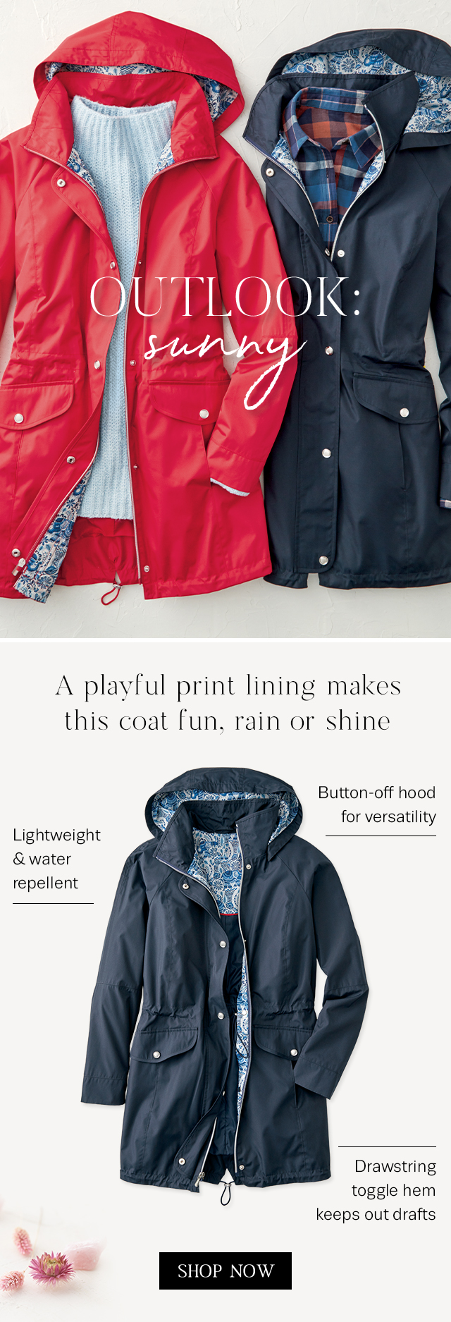 Check out our new raincoats with playful print linings!