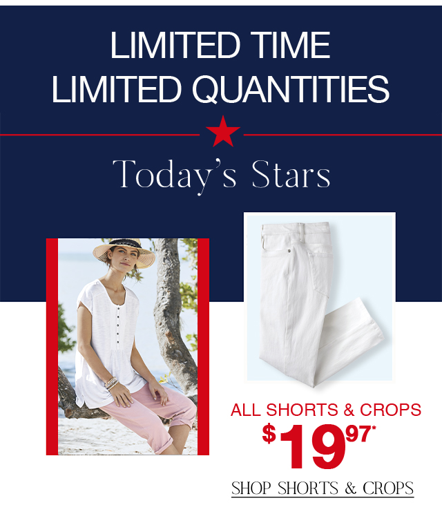Shop sale shorts and crops for only $19.97! Quantities are limited.