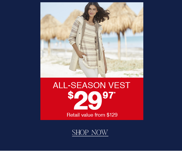 Get the All-Season Vest for $29.97 for one day only!